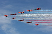 Smoke Trails Posters - Red Arrows V Formation Poster by Phil Clements