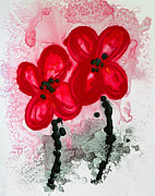 Red Abstract Paintings - Red Asian Poppies by Sharon Cummings