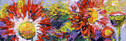 Burst Painting Prints - Red Asters Modern Impressionist Flower Painting Print by Ginette Callaway