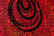 Black And Red Prints - Red Aura - Stone Rockd Art by Sharon Cummings Print by Sharon Cummings