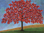 Tree Paintings - Red Autumn by Medana Gabbard