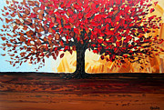 Artist Christine Krainock Prints - Red Autumn Tree of Life Print by Christine Krainock