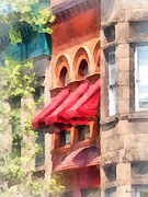Susan Savad Framed Prints - Red Awnings on Brownstone Hoboken NJ Framed Print by Susan Savad
