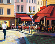 Crowd Scene Originals - Red Awnings St Michel by Elaine Lisle