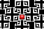 Squares Prints - Red Ball 5 Print by Mike McGlothlen
