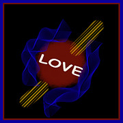 Symmetrical Design Posters - Red Ball LOVE Poster by Barbara Snyder