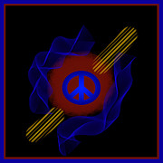 Symmetrical Design Prints - Red Ball PEACE Print by Barbara Snyder