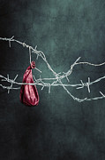 Barbed Wire Framed Prints - Red Balloon Framed Print by Joana Kruse