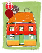 Brown Mixed Media Posters - Red Balloon Poster by Linda Woods
