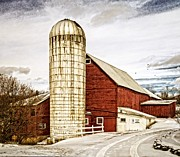 Red Barn. New England Framed Prints - Red Barn and Silo Vermont Framed Print by Edward Fielding