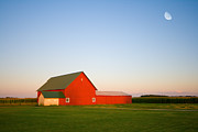 Rural Indiana Framed Prints - Red Barn and the Moon Framed Print by Alexey Stiop