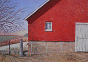 Old Barns Pastels Posters - Red Barn Poster by Deborah Burow