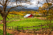 Autumn Scenes Metal Prints - Red Barn Metal Print by Debra and Dave Vanderlaan