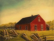 Old Barns Mixed Media Framed Prints - Red Barn Framed Print by Diane Strain