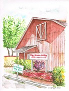 Barn Drawings Posters - Red Barn Gift Shop in Three Rivers - California Poster by Carlos G Groppa