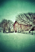 Snow Scene Framed Prints - Red Barn in Winter Framed Print by Jill Battaglia