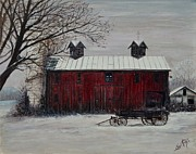 Shed Acrylic Prints - Red Barn in Winter Acrylic Print by Shirl Theis