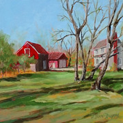 Old Barn Paintings - Red Barn by Jan Finn-Duffy
