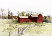 Amish Farms Photos - Red Barn by Marcia Colelli