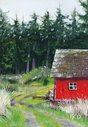 Gravel Road Pastels Framed Prints - Red Barn Framed Print by Marie-Claire Dole