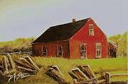 Old Barns Mixed Media Framed Prints - Red Barn  No. 2 Framed Print by Diane Strain