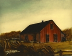 Old Barns Mixed Media Framed Prints - Red Barn  No. 3 Framed Print by Diane Strain