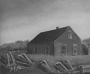Red Buildings Drawings Framed Prints - Red Barn  No. 4    Framed Print by Diane Strain