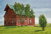 Folkart Photos - Red Barn on Siding by Nikolyn McDonald
