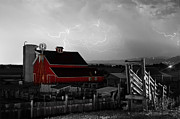 Storm Prints Photo Prints - Red Barn On The Farm and Lightning Thunderstorm BWSC Print by James Bo Insogna