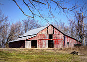 Missouri Prints - Red Barn on the Hill Print by Cricket Hackmann