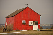 Snow On Barn Posters - Red Barn on the Hill Poster by Joshua McCullough