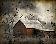 Ravens Digital Art Posters - Red Barn - photo - art Poster by Gothicolors And Crows