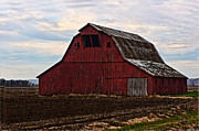 Plowed Field Pyrography Prints - Red barn photoart Print by Debbie Portwood