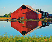 Photographs With Red. Posters - Red Barn Reflecions Poster by Michelle Zearfoss