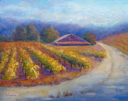 Vines Paintings - Red Barn Vineyard by Carolyn Jarvis