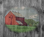 Farming Barns Mixed Media Prints - Red Barn Windmill Print by Timothy Clinch