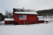 Poconos Art - Red Barn with Flag in the Snow by Bill Cannon