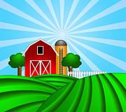 Rolling Doors Framed Prints - Red Barn with Grain Silo on Green Pasture Illustration Framed Print by JPLDesigns