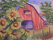 Flowers Sunflowers Barn Prints - Red barn with Sunflowers Print by Belinda Lawson
