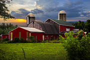 Amish Farms Photo Framed Prints - Red Barns Framed Print by Debra and Dave Vanderlaan