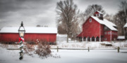 Grey Clouds Posters - Red Barns Poster by Michael Petrizzo