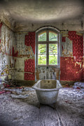 Plaster Digital Art Posters - Red bathroom Poster by Nathan Wright