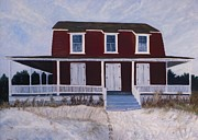 Bannister Painting Prints - Red Beach House I Off Season Print by Jim Vansant