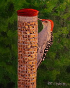 Bird Prints Paintings - Red bellied Woodpecker at peanut feeder by Patrick ODriscoll