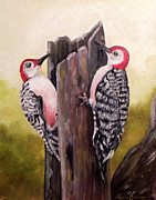 Woodpeckers Paintings - Red bellied woodpeckers by Laura Brown