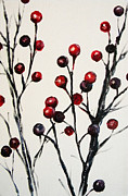 Nature Study Painting Posters - Red Berry Study Poster by Rebekah Reed