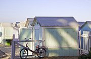 Cabanas Prints - Red Bicycle at Mondello Beach Print by Madeline Ellis