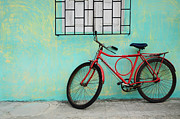 Bicycling Photos - Red Bicycle Blue Wall Brazil by Bob Christopher