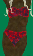 Kate Farrant - Red Bikini Abstract Woman Painting