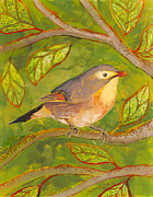 Forest Glass Art Metal Prints - Red-billed Leiothrix Metal Print by Anna Skaradzinska